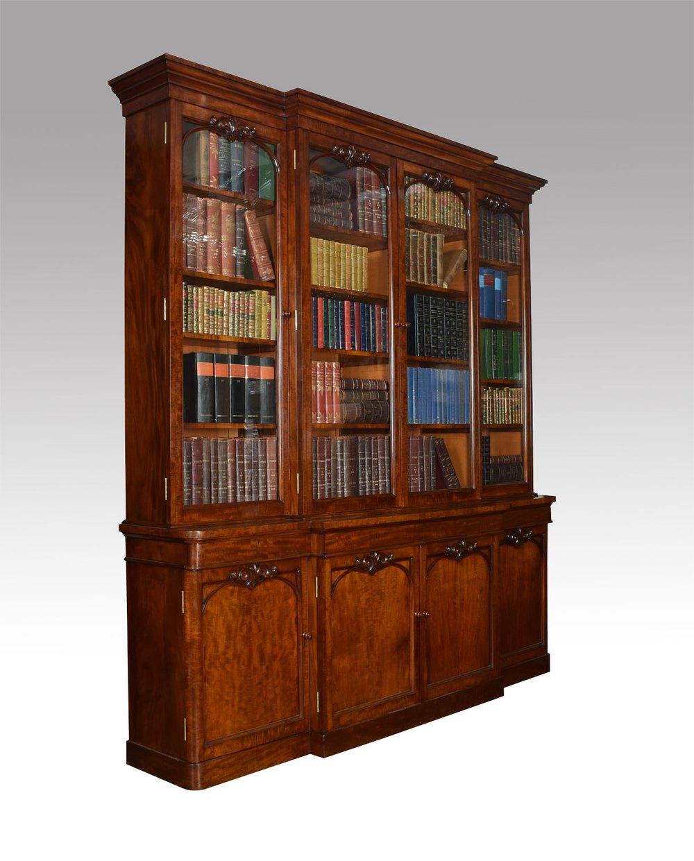 Antique Bookshelves: Mahogany Library Breakfront Secretaire Bookcase