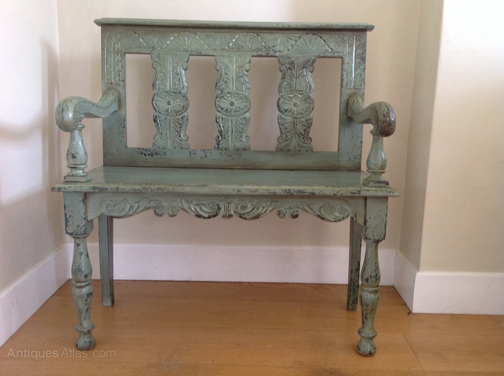 Painted Victorian Carved Bench Antiques Atlas