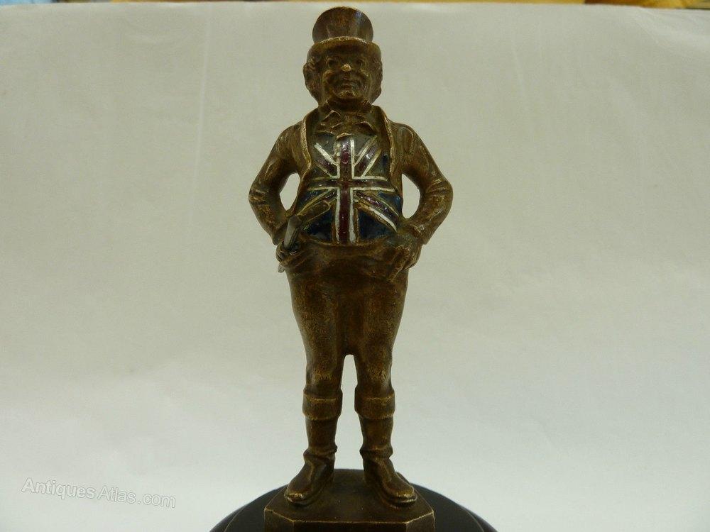 Antiques Atlas - Bronze & Enamel John Bull Car Mascot Hood ...
