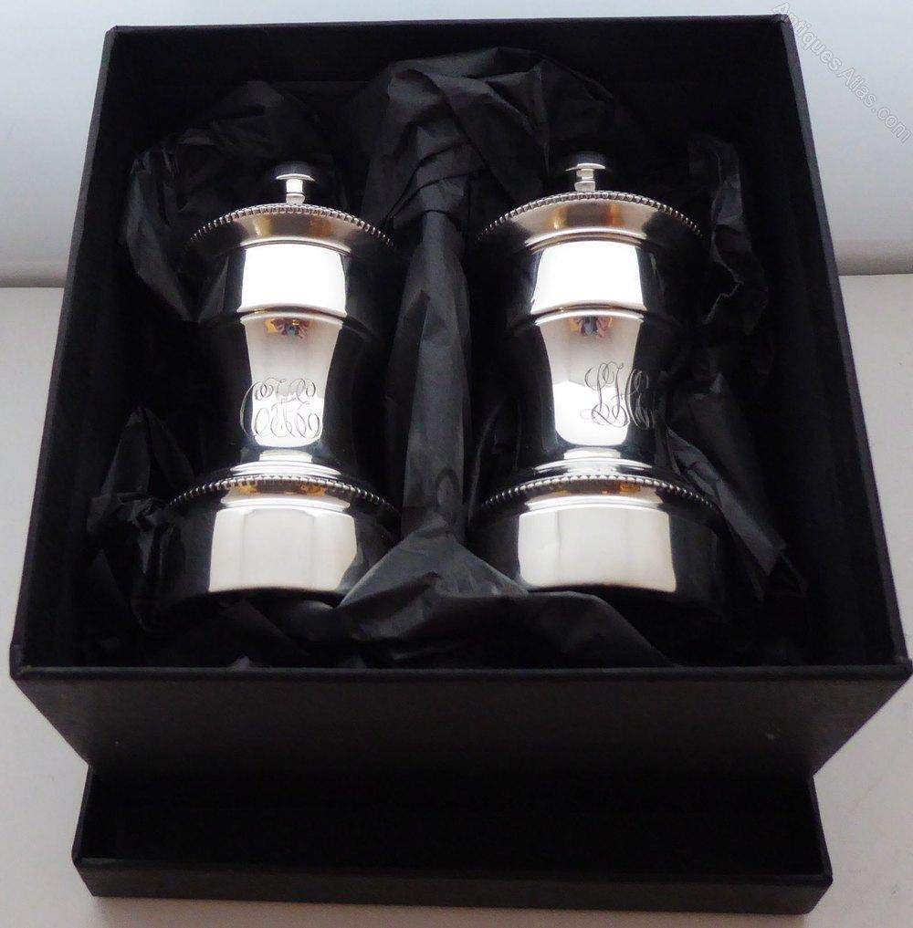 Antiques atlas c1900 silver cruet set salt and pepper grinders - Salt and pepper cruet set ...