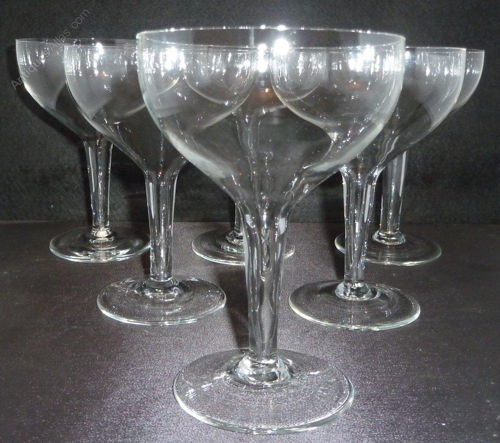Antiques atlas set 6 quality hollow stem champagne bowls glasses - Hollow stem champagne glasses ...