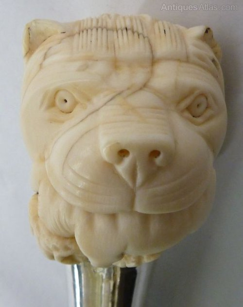 Antiques Atlas Snake Wood Walking Stick Ivory Lions Head
