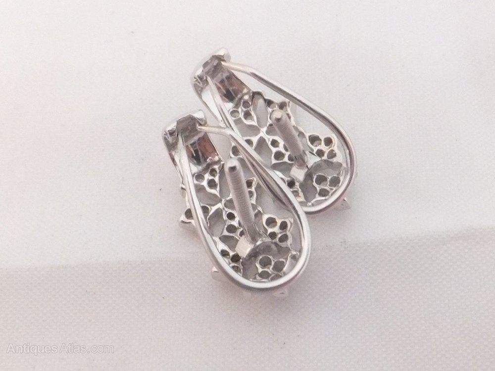 Ct White Gold Diamond Cluster Earrings