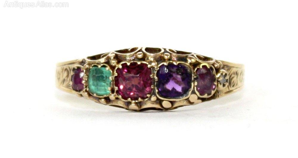 antiques atlas 18ct gold regard gemstone ring