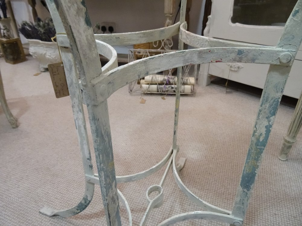 Antiques atlas french cast iron table base with with for Cast iron table with glass top