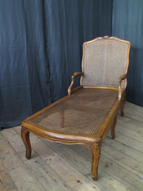 French walnut bergere chaise longue circa 1780 antiques for Antique chaise longue for sale uk