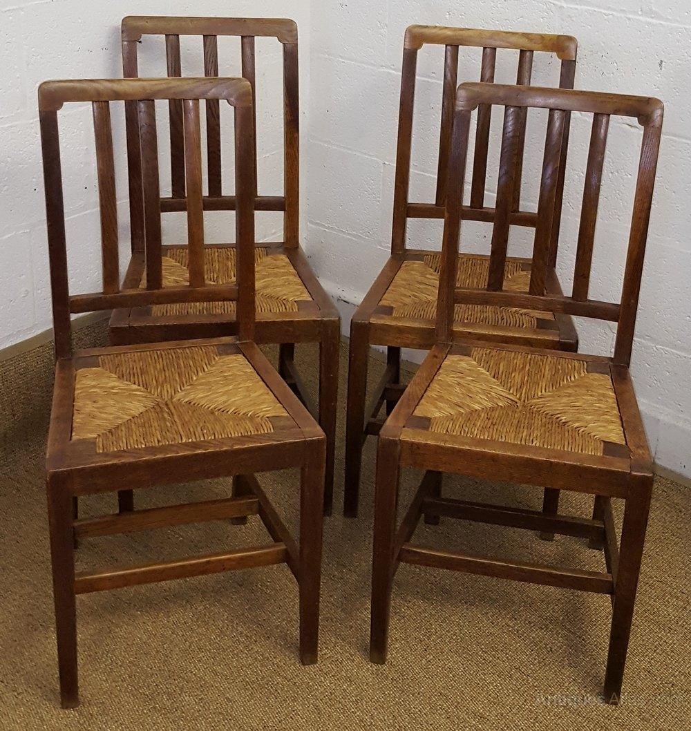 Heals Set Of 4 Oak Dining Chairs C1930 - Antiques Atlas