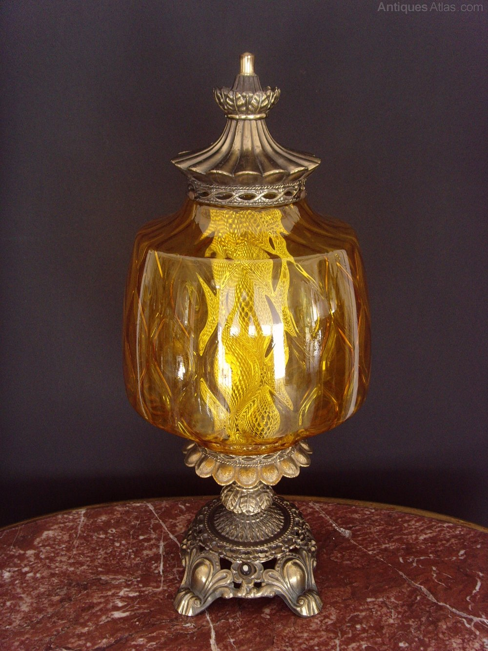 Antiques Atlas 1950s Falkenstein Usa Table Lamp Amber Shade