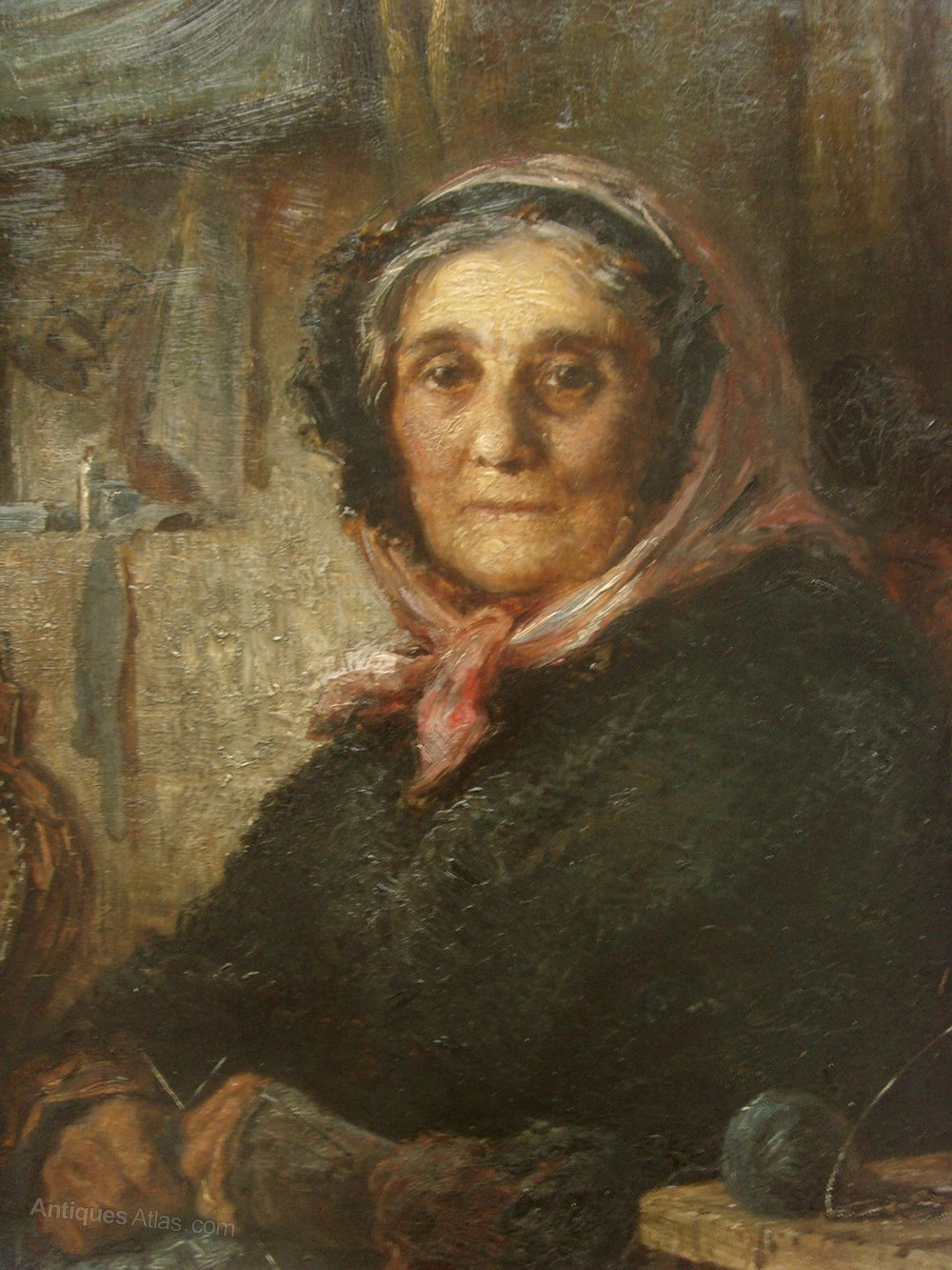 Antiques Atlas Atmospheric 19th C Oil Old Woman Knitting
