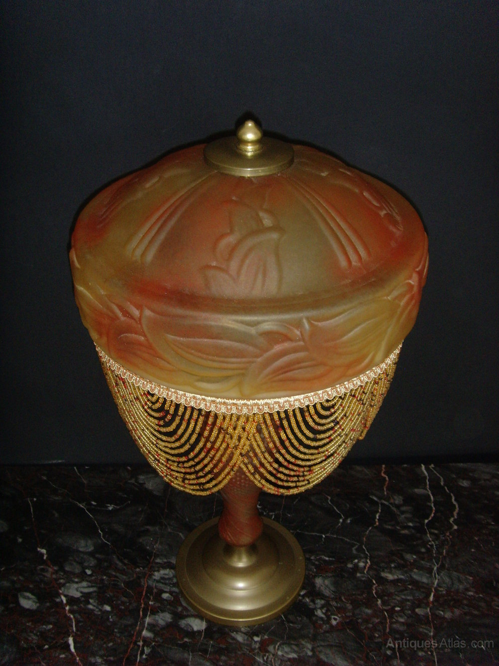 Antiques Atlas French Art Deco Signed Glass Lamp Beaded