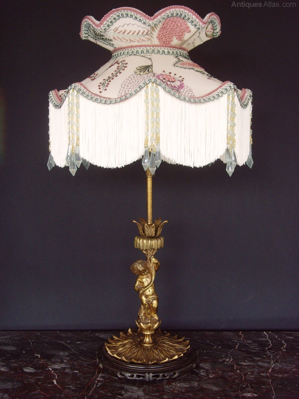 Antiques Atlas Ormolu Cherub Table Lamp Silk Crewel Work