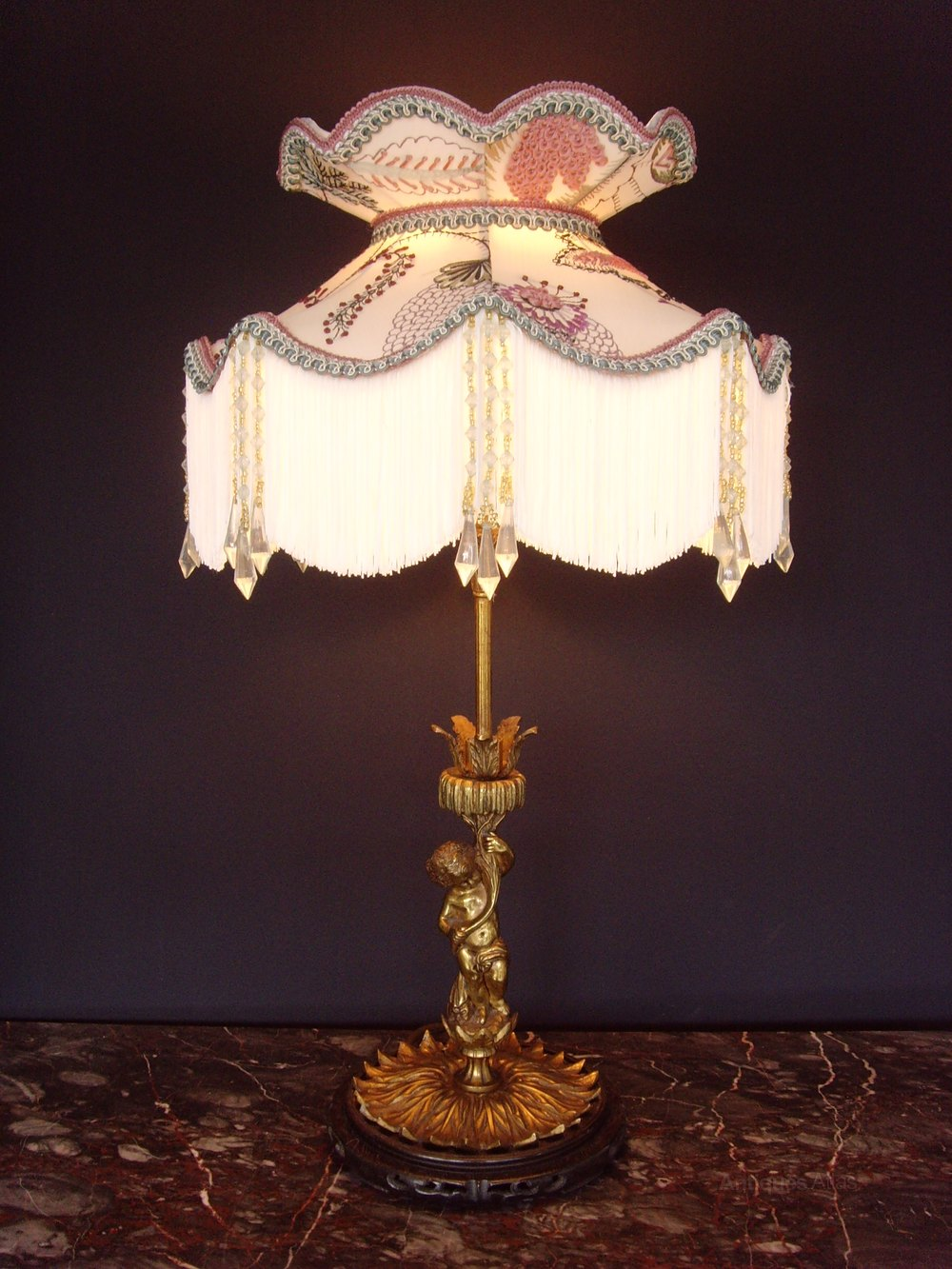 for sale this victorian ormolu cherub table lamp and crewel work shade. Black Bedroom Furniture Sets. Home Design Ideas