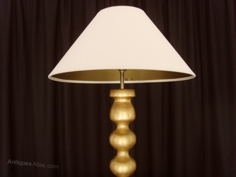 antiques atlas pair 34 giltwood table lamps linen shades. Black Bedroom Furniture Sets. Home Design Ideas