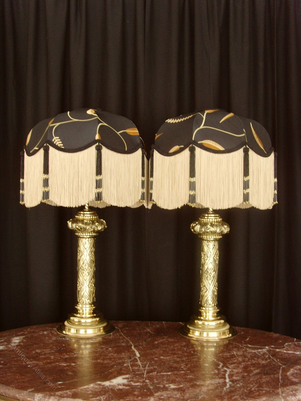 Antiques Atlas Pair Brass Table Lamps Amp Black Silk Shades