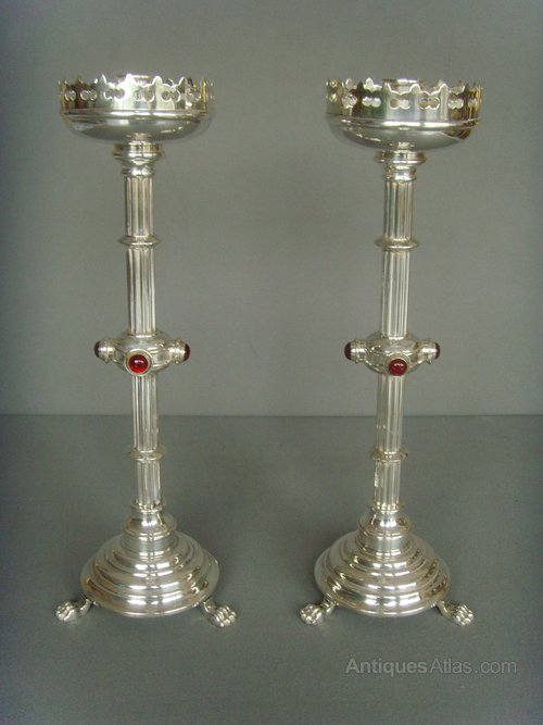 Antiques Atlas Pair Gothic Silver Plated Candlesticks