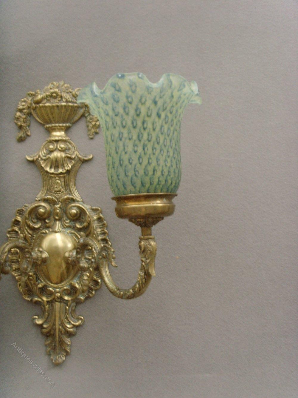 Antiques Atlas - Pair Brass Twin Arm Wall Lights & Glass Shades