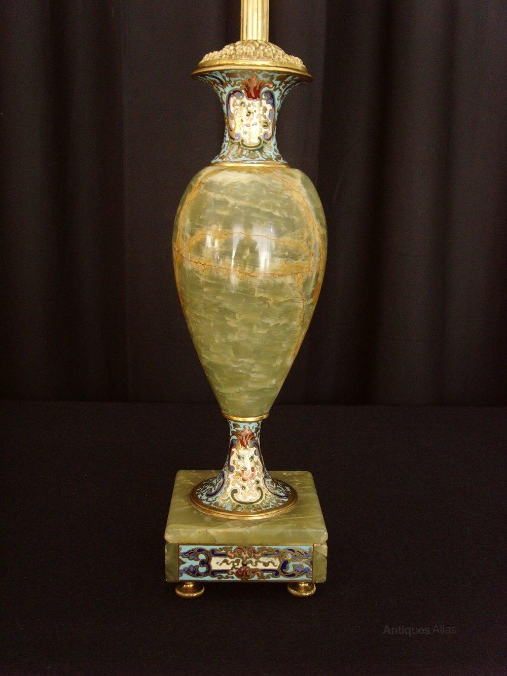 Antiques Atlas Pair Onyx Amp Champleve Enamel Table Lamps