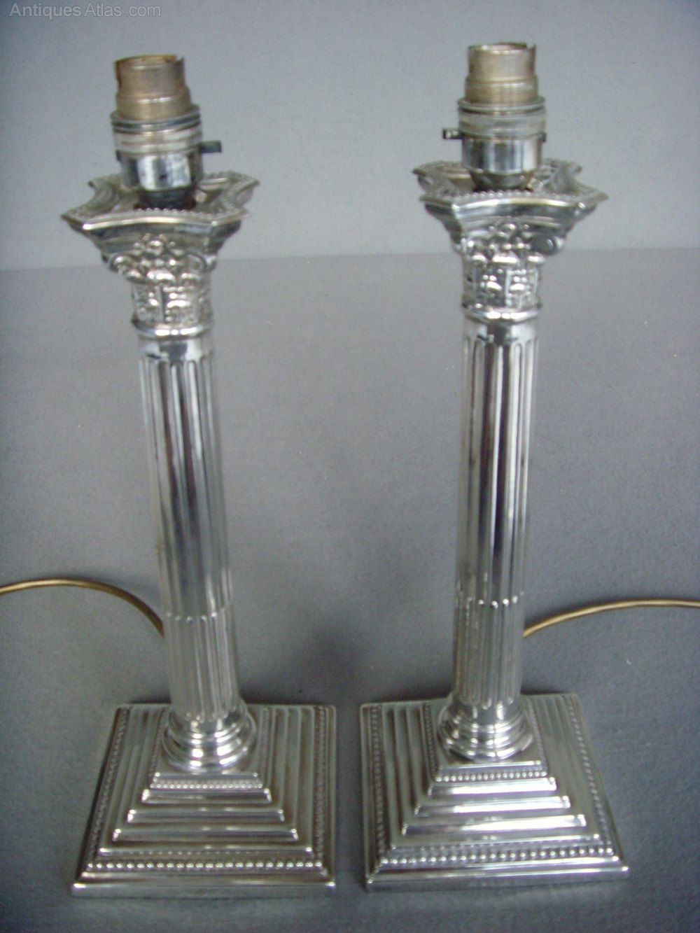 Antiques atlas pair silver plated corinthian column lamp bases pair silver plated corinthian column lamp bases antique lighting table lamps geotapseo Choice Image