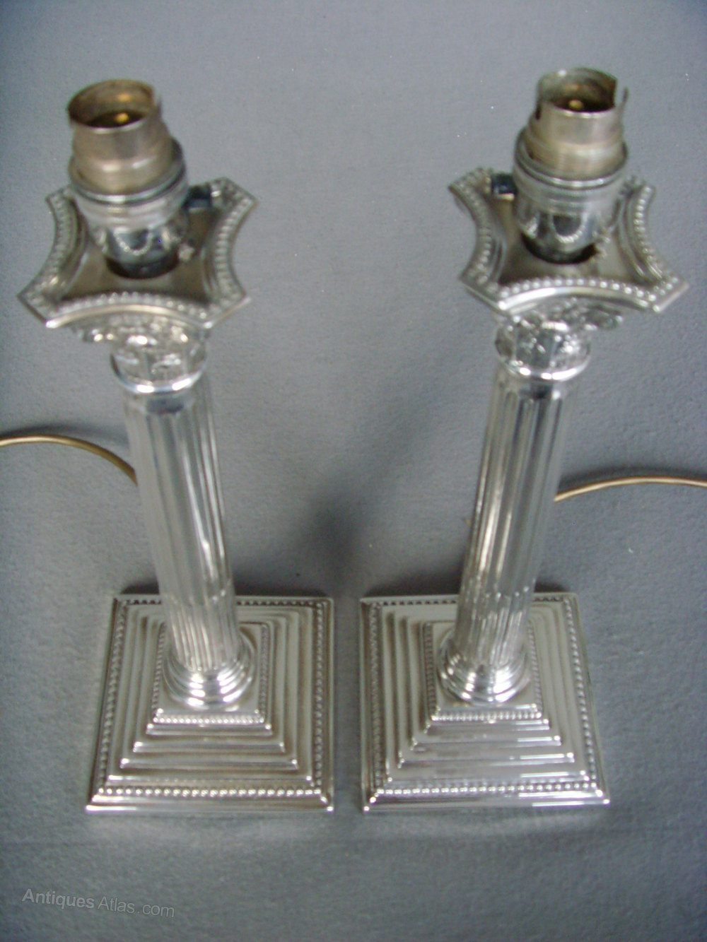 Antiques atlas pair silver plated corinthian column lamp bases pair table lamp bases corinthian column geotapseo Choice Image