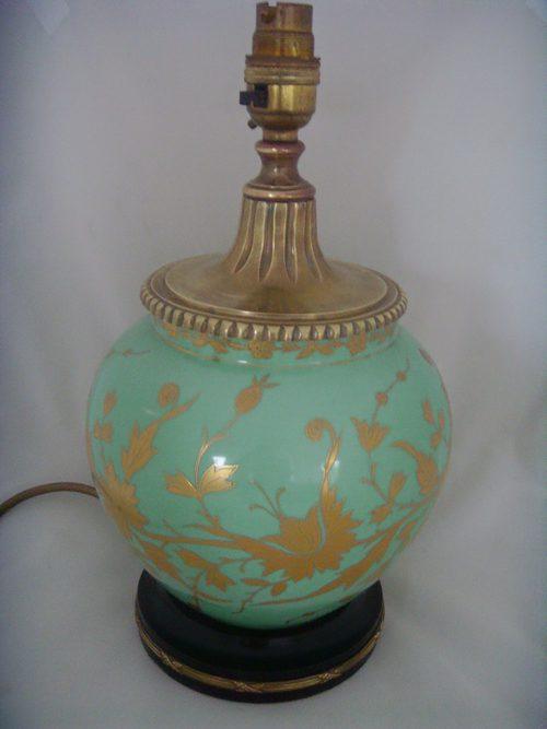 Porcelain Table Lamp Mint Green Gilt Overlay Antique ...