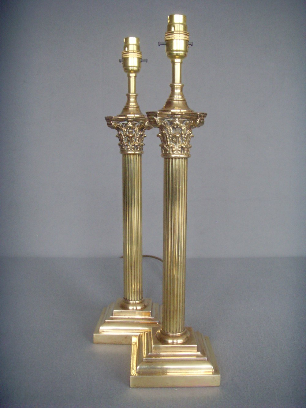 Antiques atlas pr tall brass corinthian column table lamps pr tall brass corinthian column table lamps antique lighting table lamps geotapseo Choice Image
