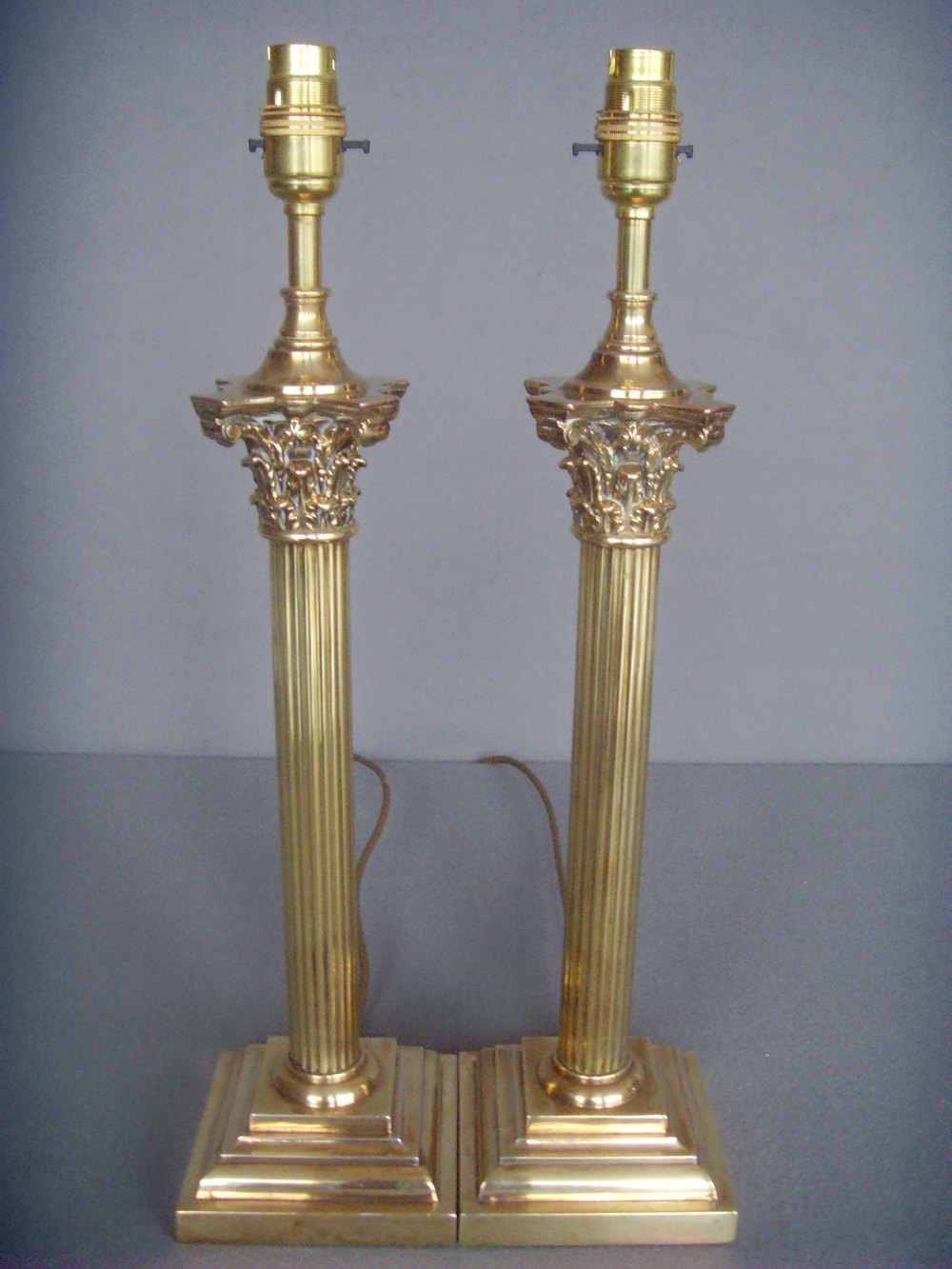 Antiques Atlas - Pr. Tall Brass Corinthian Column Table Lamps