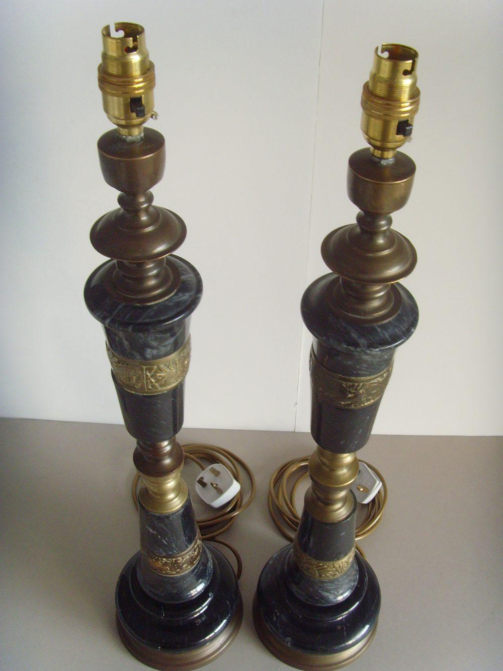 Antiques Atlas Pr V Lge Black Marble Amp Brass Table Lamps