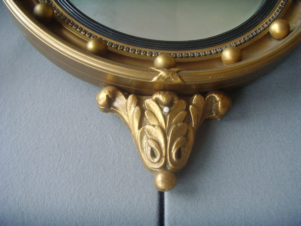Antiques Atlas Regency Style Giltwood Convex Mirror Sconces
