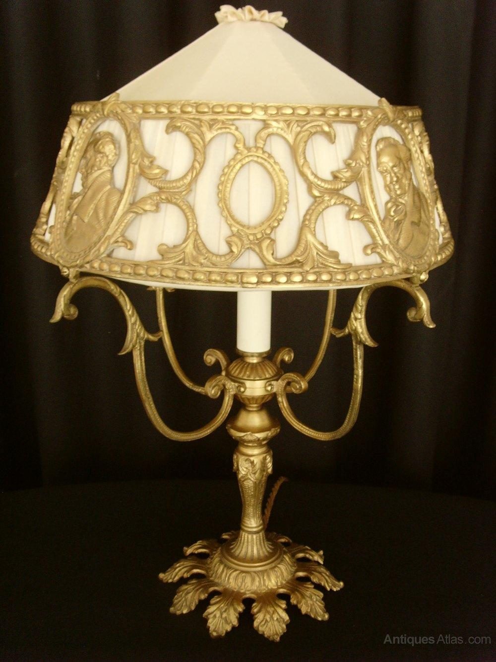 Antiques Atlas Unusual Gilt Metal Table Lamp Pierced Shade