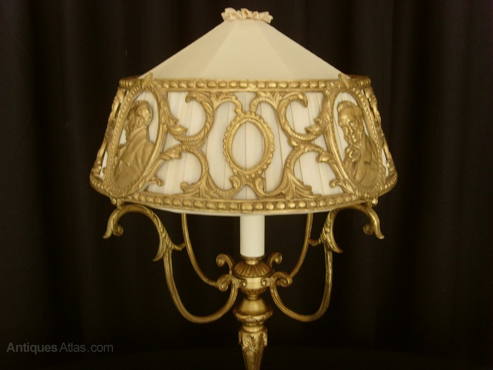 Vanity Light Wood Metal With Punched Tin Lamp Shades: Unusual Gilt Metal Table Lamp & Pierced Shade