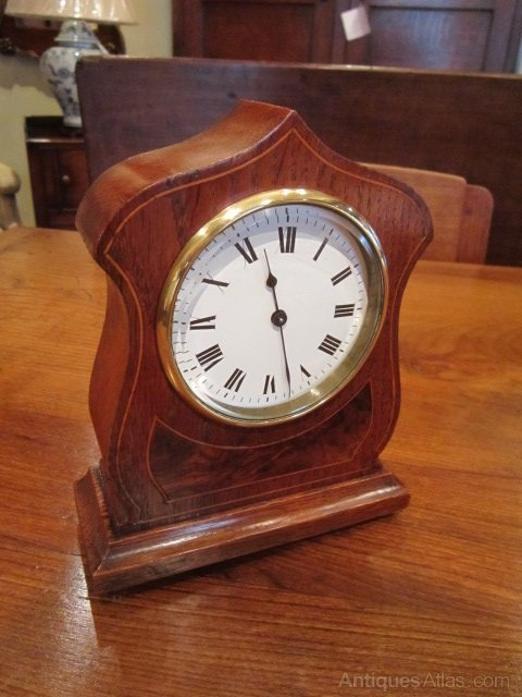 Antiques atlas small arts crafts inlaid mantel clock for Small clocks for crafts