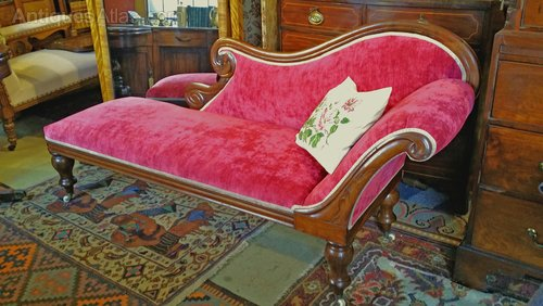 Victorian mahogany chaise longue day bed sofa antiques for Chaise longue day bed