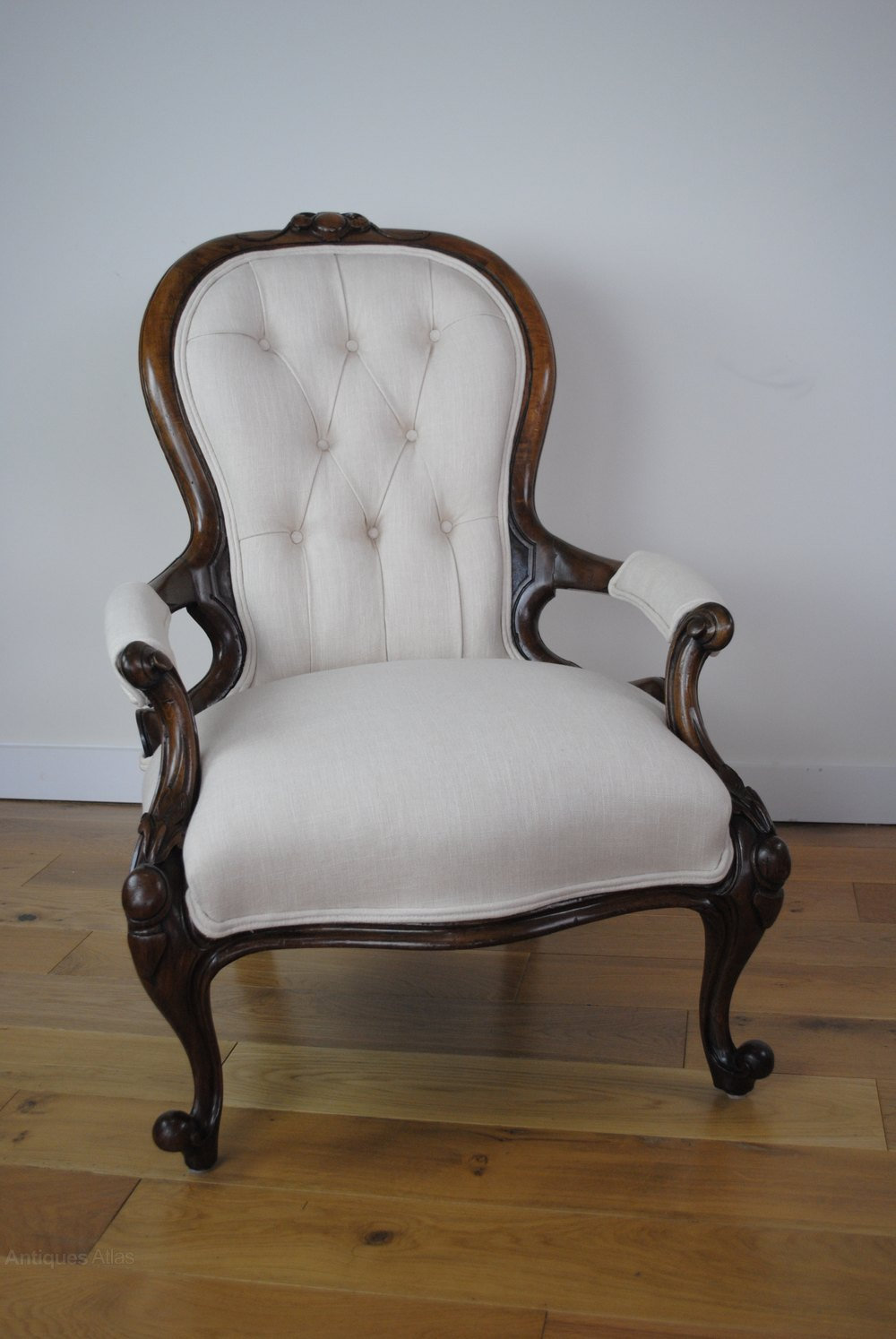 Victorian Button Back Armchair Re Upholstered Antiques