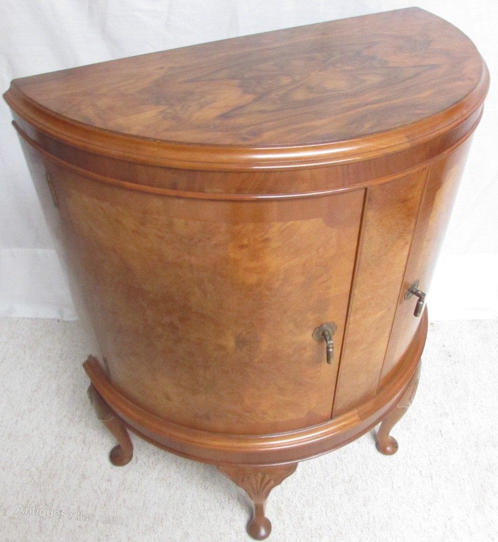 Burr Walnut Demi Lune Cabinet - Antiques Atlas
