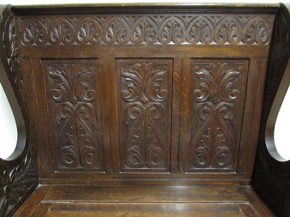 Carved oak bench or settle antiques atlas