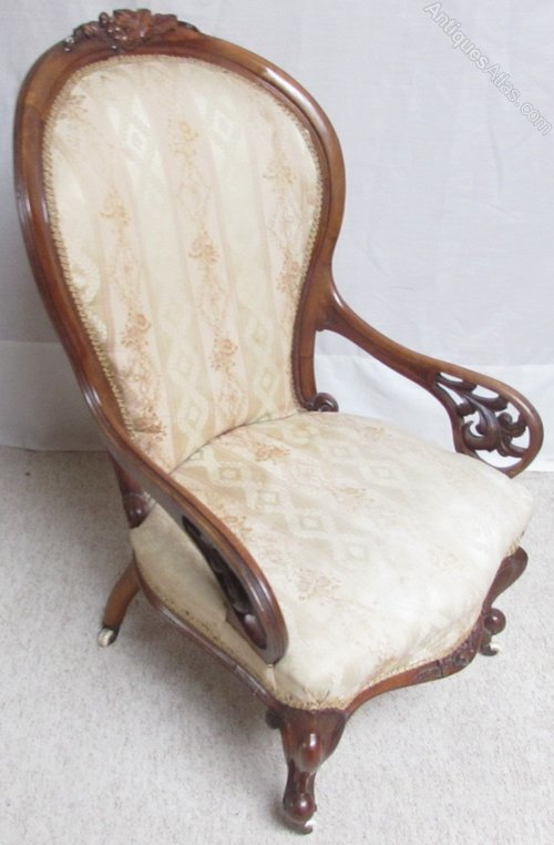 Victorian walnut show wood arm chair antiques atlas