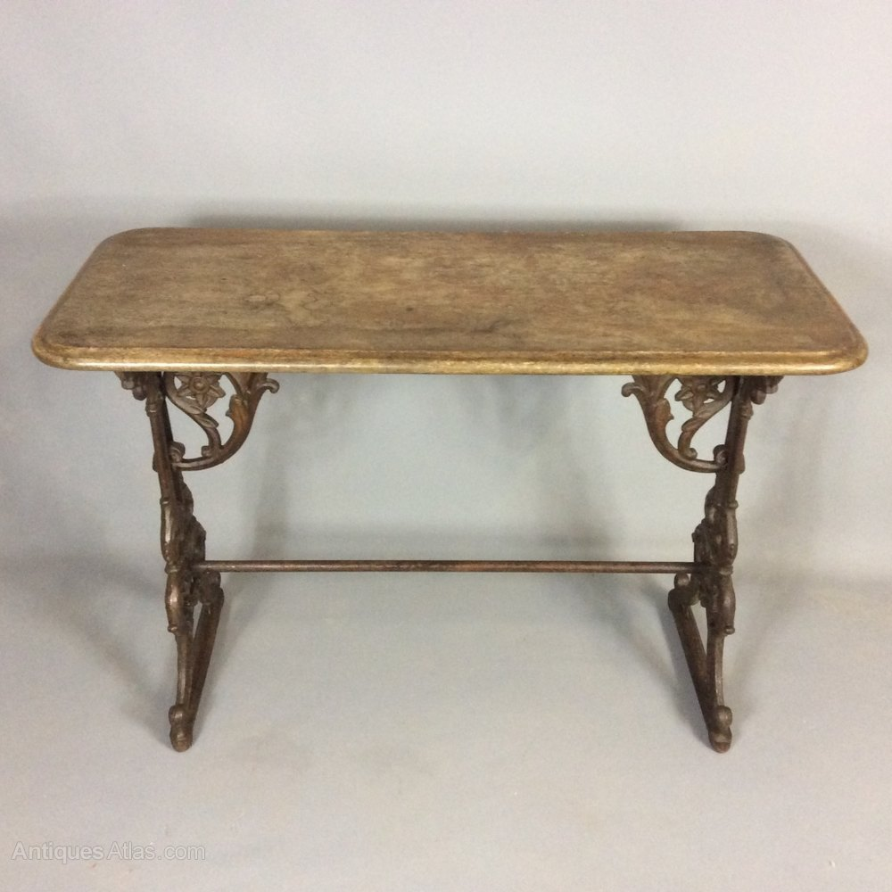 Antiques Atlas Cast Iron Garden Table With Wooden Top