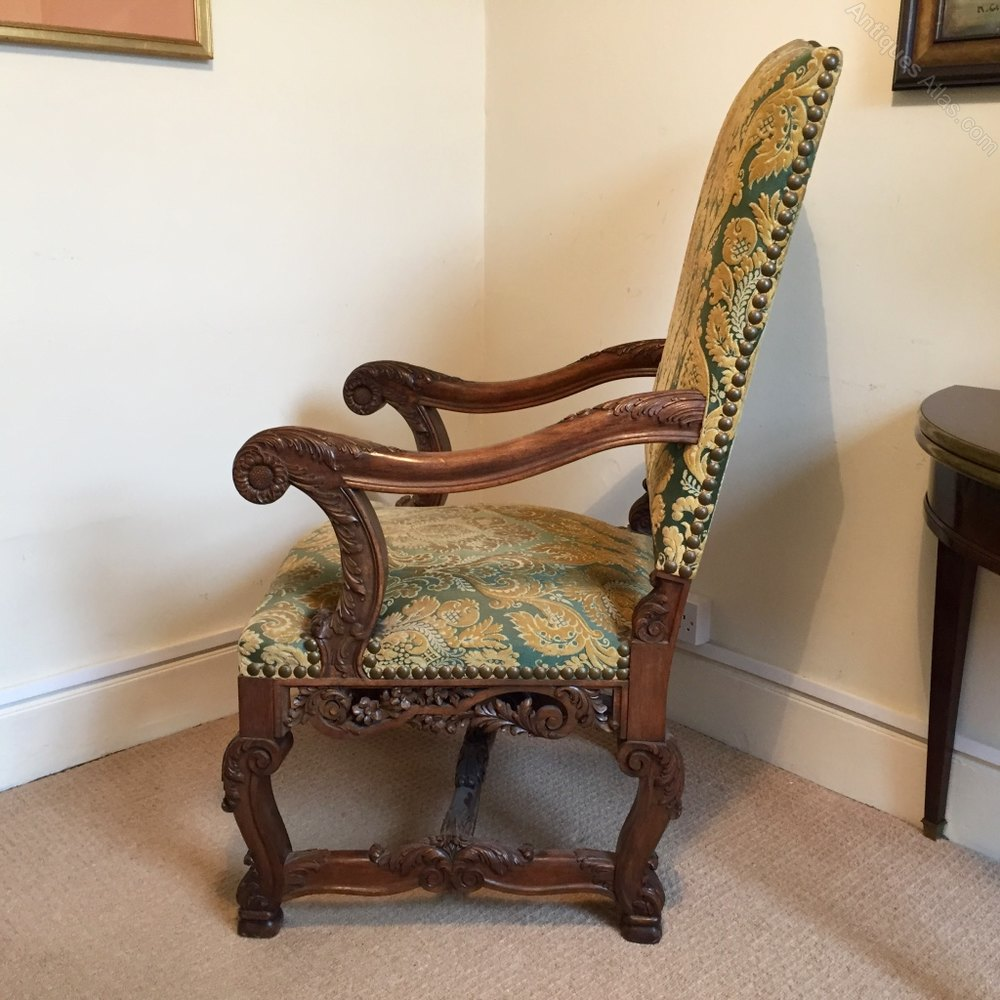 French Carolean Style High Back Carver Chair - Antiques Atlas