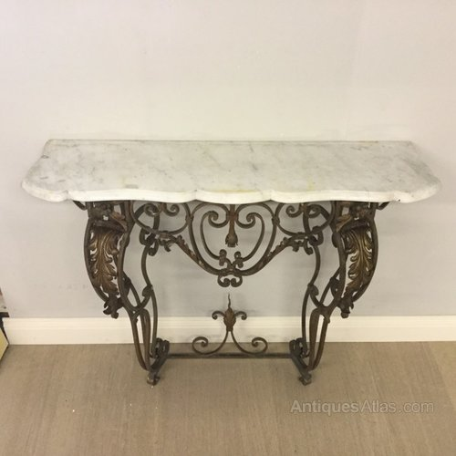 French marble top wrought iron console table antiques atlas for Wrought iron table bases marble top