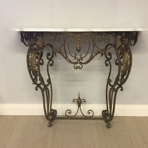 French Marble Top Wrought Iron Console Table Antiques Atlas