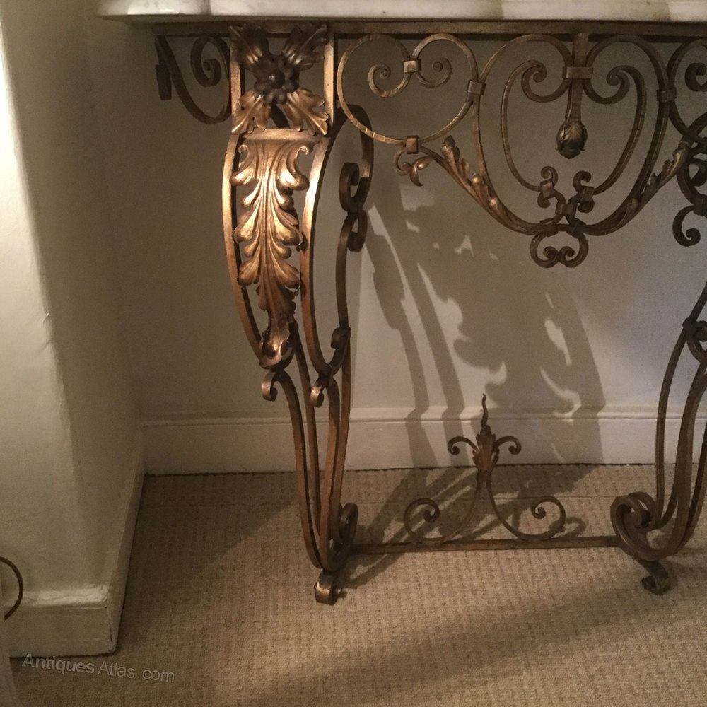 Antique wrought iron table - French Marble Top Wrought Iron Console Table Antique Console Tables Alt5 Alt6