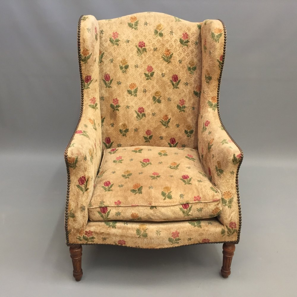 High back french wing armchair antiques atlas for Armchair with high back