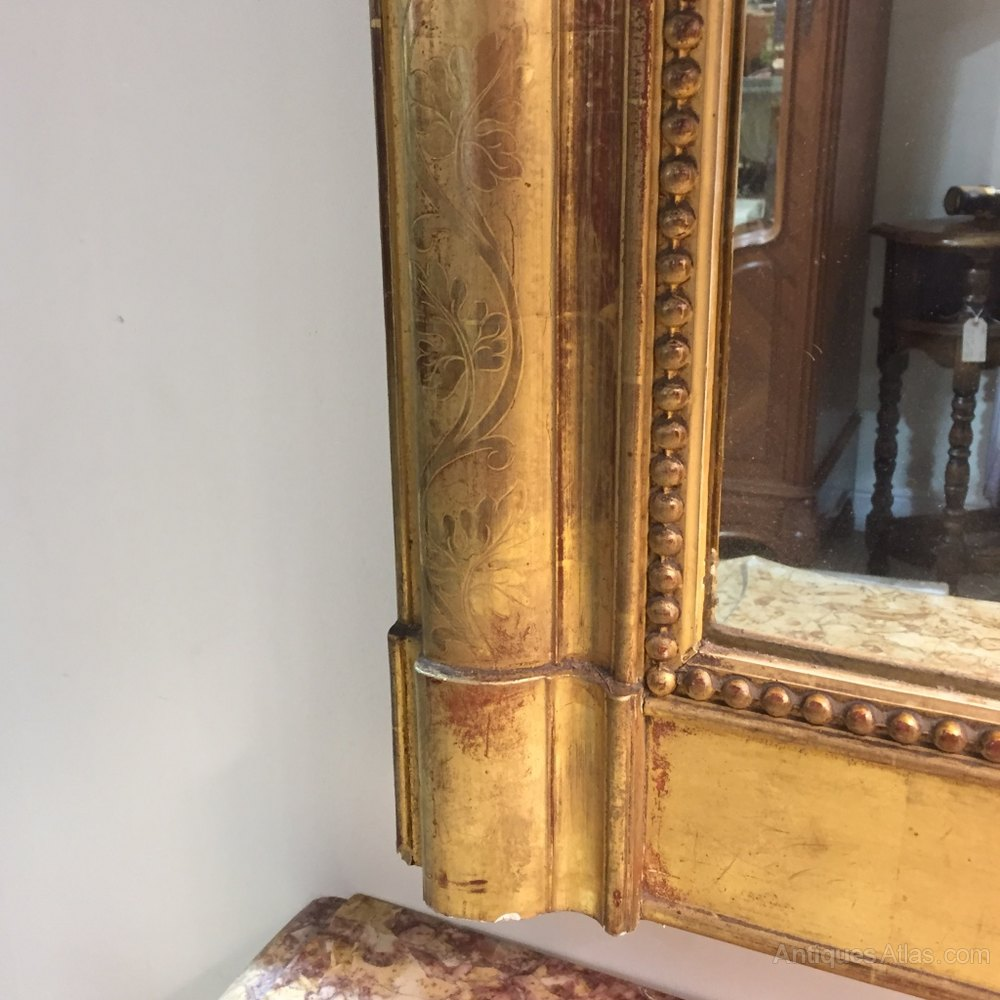 Antiques atlas large french gilt over mantle mirror for Mantle mirror