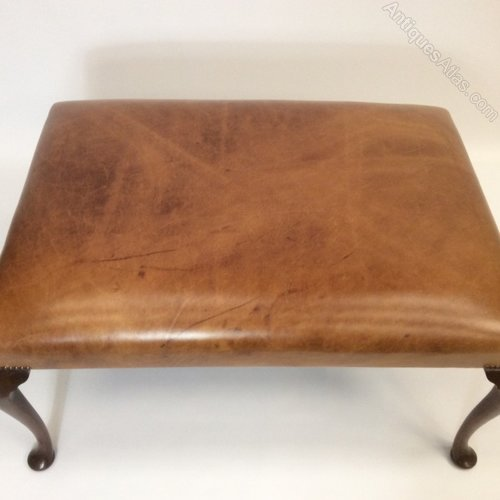 Leather Top Queen Anne Pad Foot Centre Stool Coffee Table Antiques Atlas