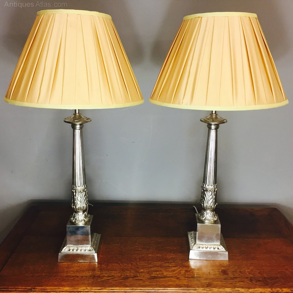 fantastic pair of nickle plated table lamps in a classical style the. Black Bedroom Furniture Sets. Home Design Ideas