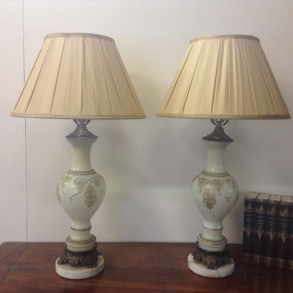 antiques atlas pair of opalene glass table lamps. Black Bedroom Furniture Sets. Home Design Ideas