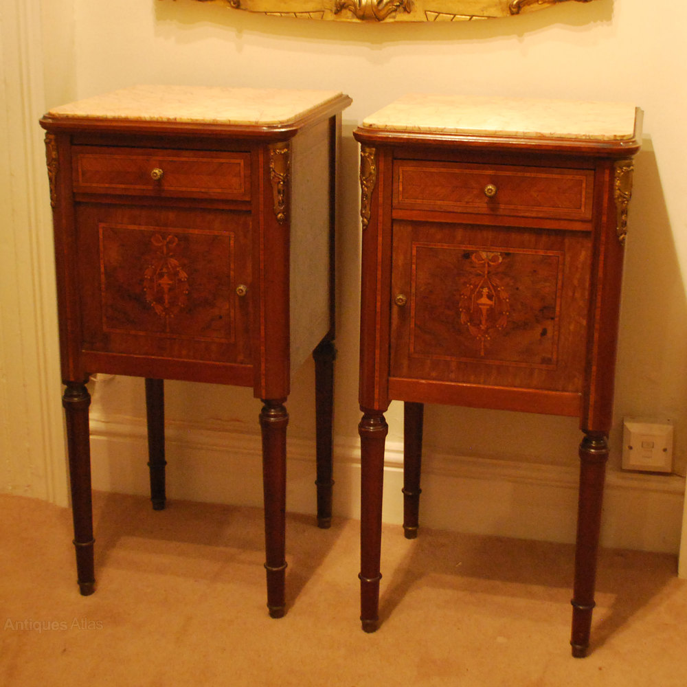Pair French Inlaid Pot Cupboards With Marble Tops Antique ... - Pair French Inlaid Pot Cupboards With Marble Tops - Antiques Atlas