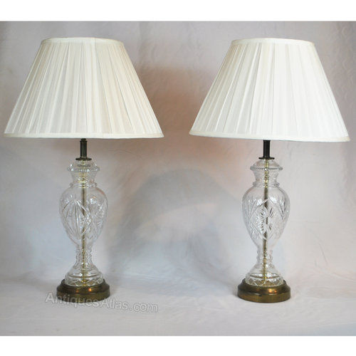 antiques atlas pair of 1950 39 s cut glass table lamps. Black Bedroom Furniture Sets. Home Design Ideas