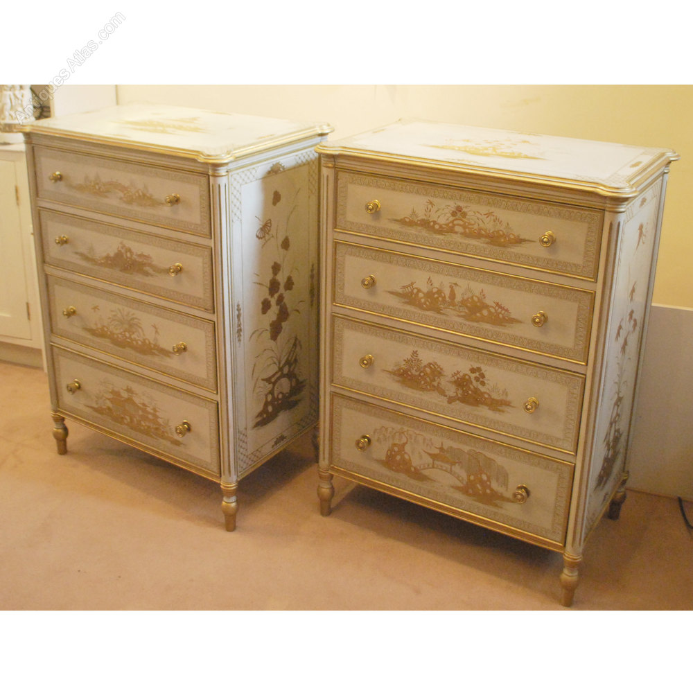 Pair Of Chinese Style 4 Drawer Chests A11885 Antiques