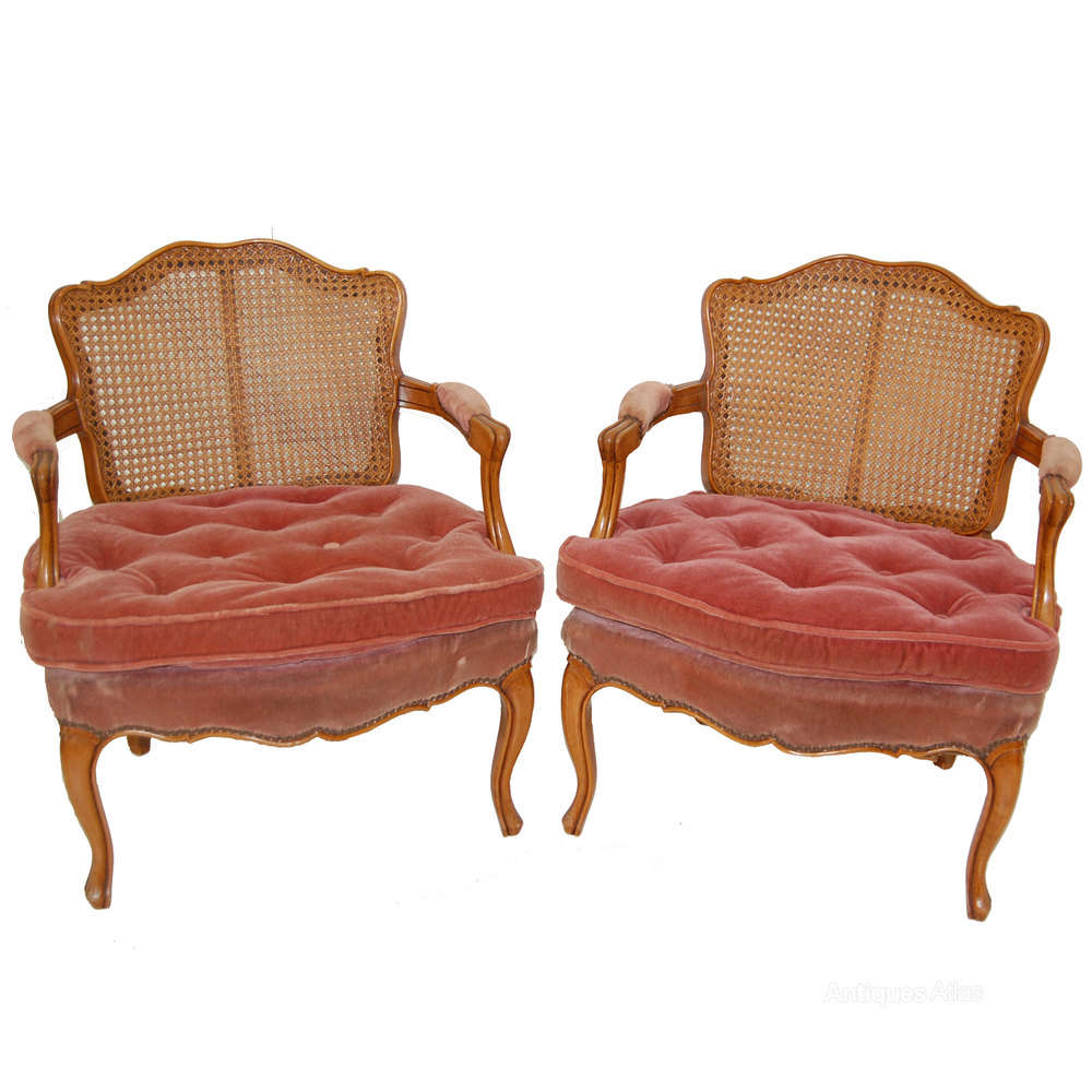 Pair Of French Cane Bergere Armchairs - Antiques Atlas